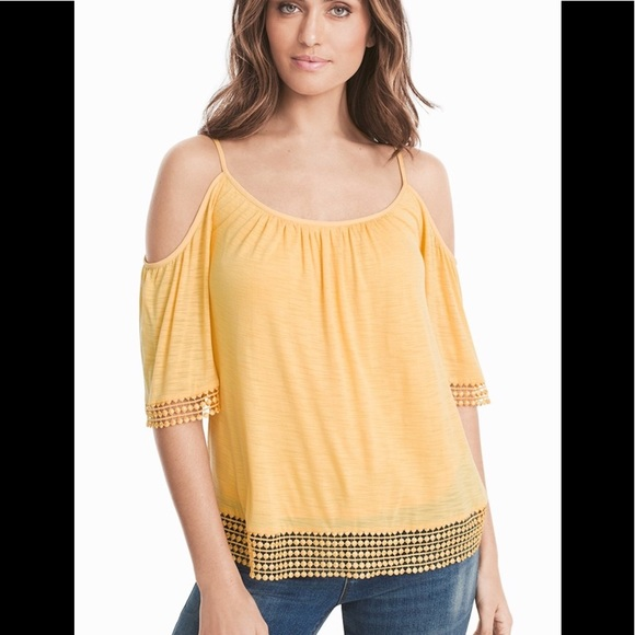 f25f960672a9cf WHBM Short Sleeve Cold-Shoulder Lace-Trim Top
